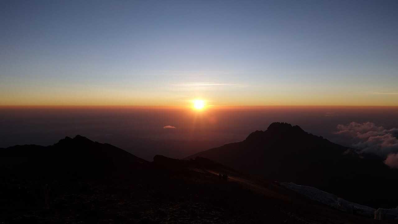 Climbing Kilimanjaro sunset