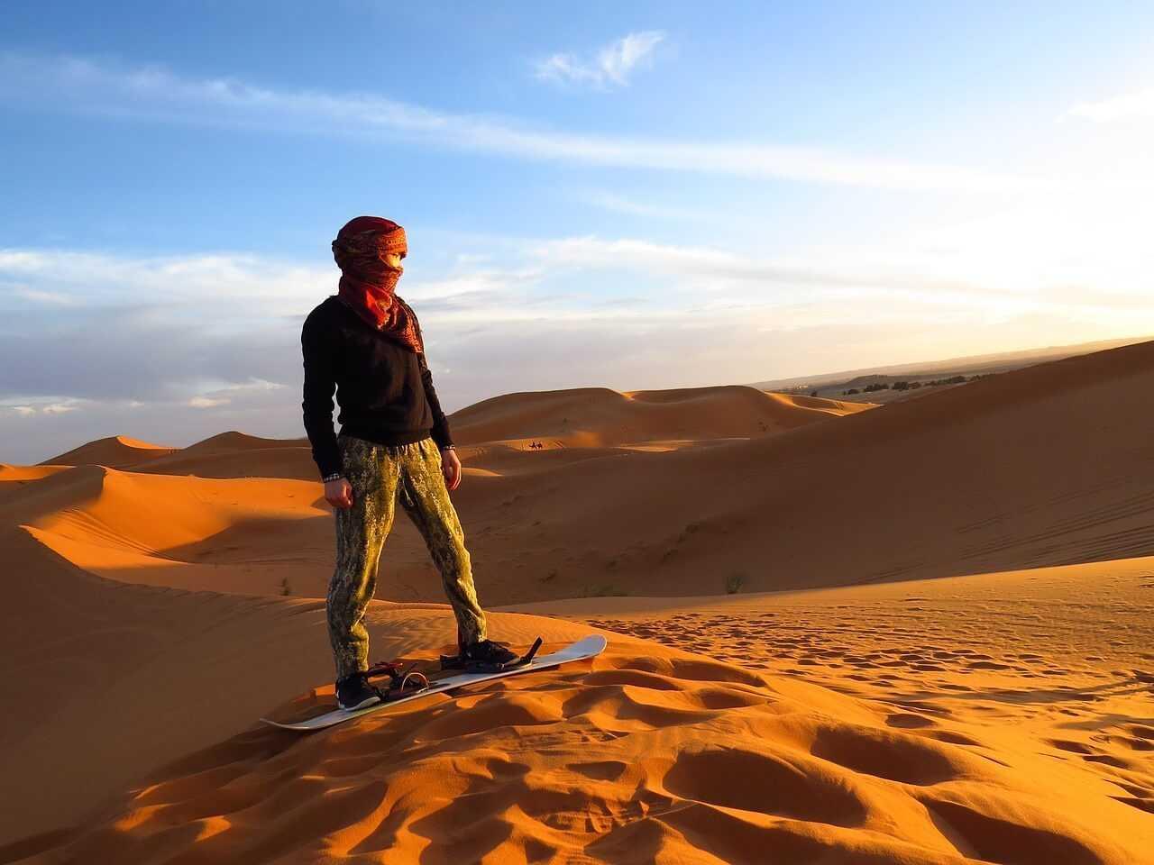 morocco desert tours - sand boarding