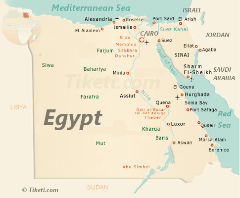 Egypt Holidays - Egypt Map