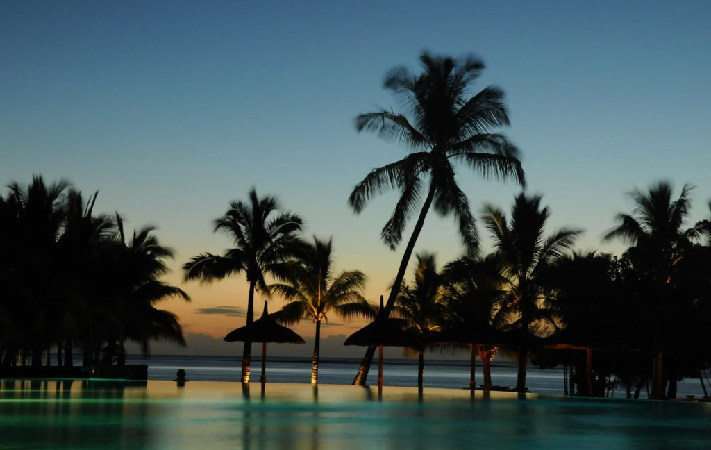 Holiday to Mauritius - Hotel Pool Palm Sunset