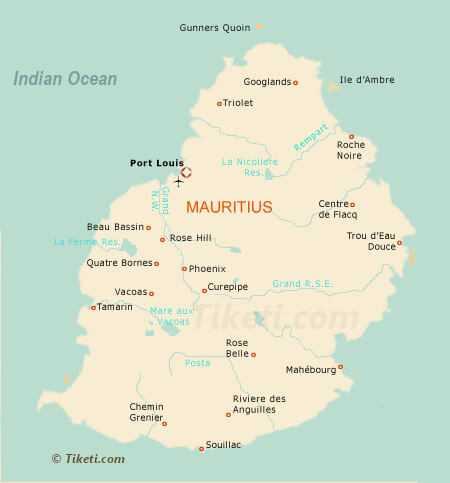 Mauritius Holidays Map