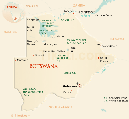 Botswana Safari Map