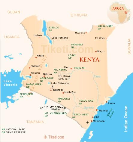 safari in Kenya holidays - map