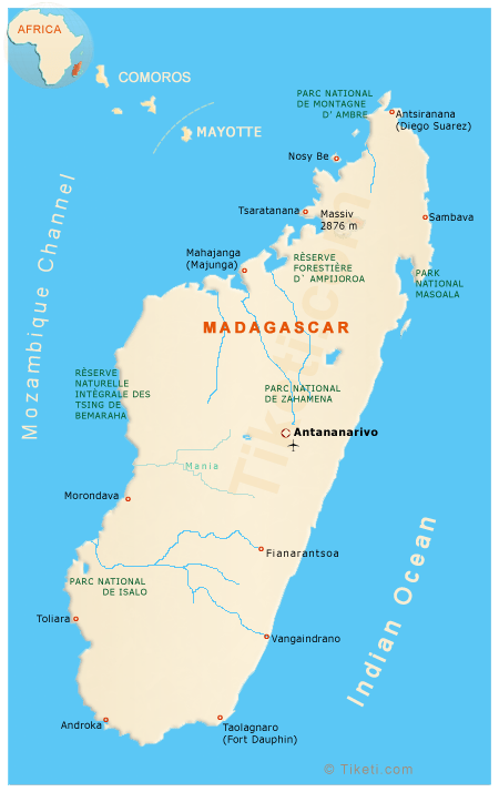 Madagascar Holidays and Travel Guide Map