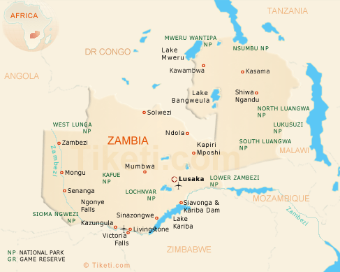 Zambia Safari Map